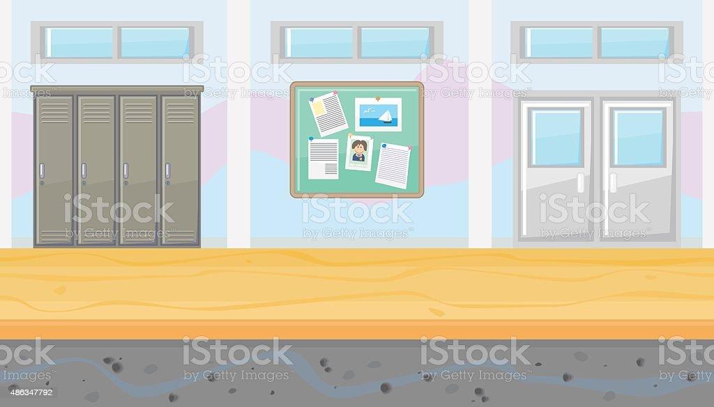 Seamless school corridor for game design vector art illustration
