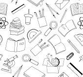 vector illustration of seamless school stuff doodle background
