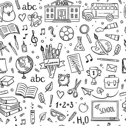 Seamless school pattern. Background with hand drawn school and education illustrations and symbols clipart
