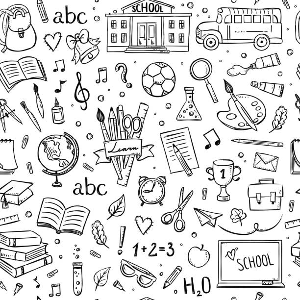 seamless school pattern. background with hand drawn school and education illustrations and symbols - school stock illustrations
