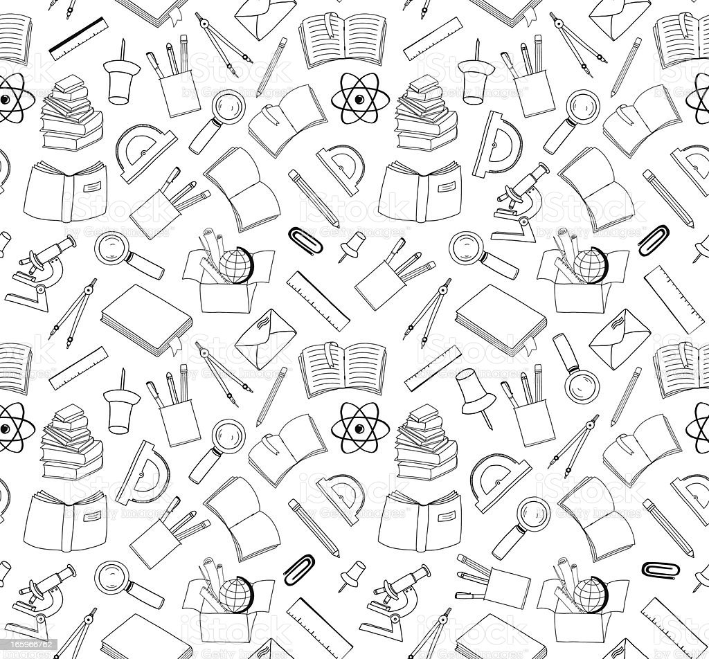 seamless school stuff doodle background vector art illustration