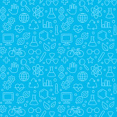 Bright blue hand drawn doodles science pattern. Seamless texture of science symbols, equipment and icons. Vector illustration.