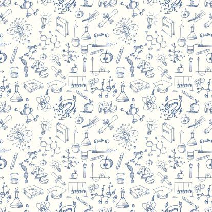 Seamless Science Symbols Pattern