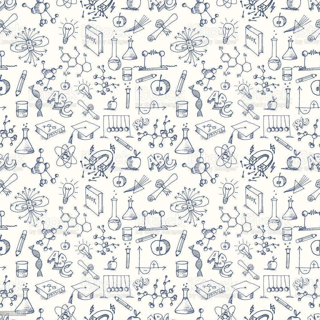 Sem costura padrão ciência símbolos - ilustração de arte em vetor