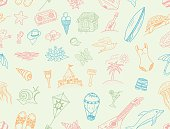 Seamless Vector. Summer sea doodles set.