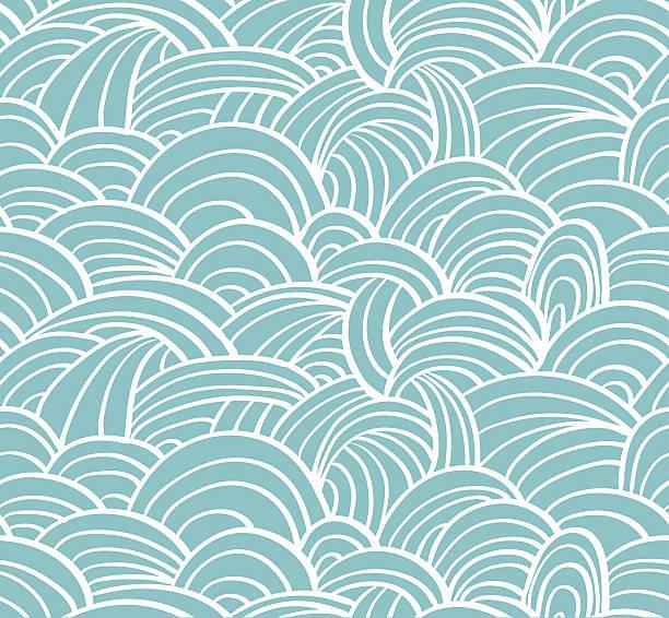 stockillustraties, clipart, cartoons en iconen met seamless sea hand-drawn pattern, waves background. - woman water