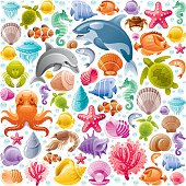 Seamless sea life colorful pattern