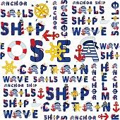 seamless sea pattern of words