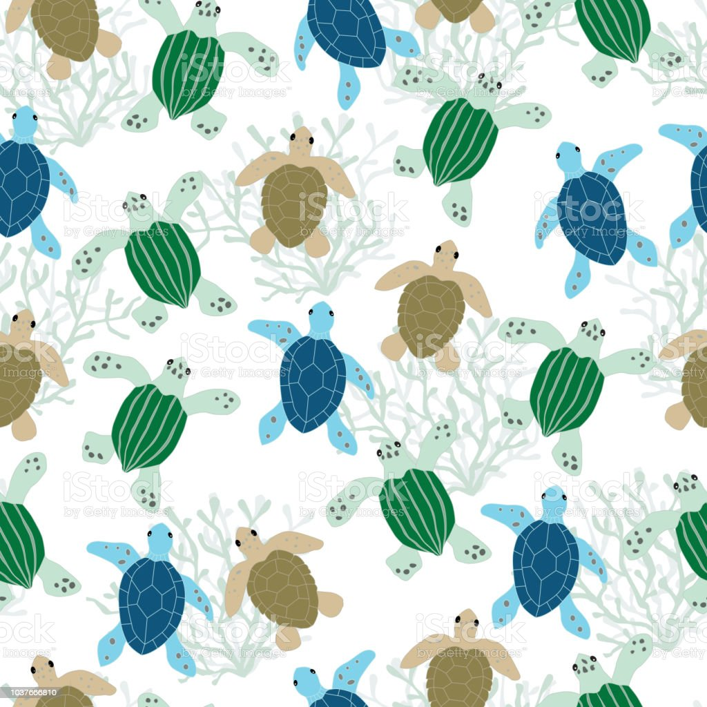 seamless sea turtle pattern background stock vector art more