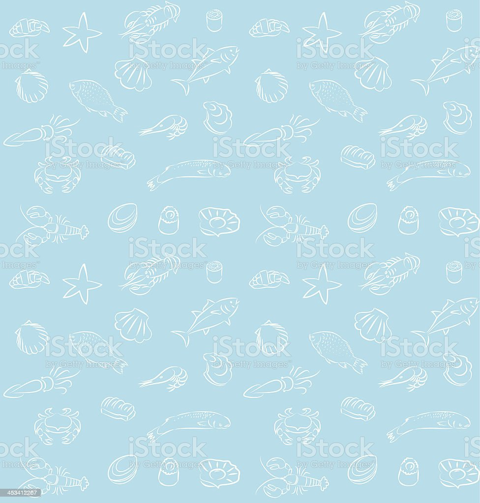 Seamless seafood pattern royalty-free stock vector art
