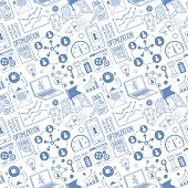 Seamless vector background contains doodle search engine drawings.