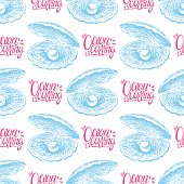 the ocean is calling. beautiful seamless pattern of seashells with pearls. hand drawn illustration