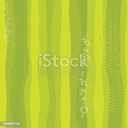 Vector seamless seaweed pattern. Each group of elements in separate layers for easy manipulation and custom coloring (layers: stripes, details, bubbles color (transparency/.AI  file only), bubbles outlines).