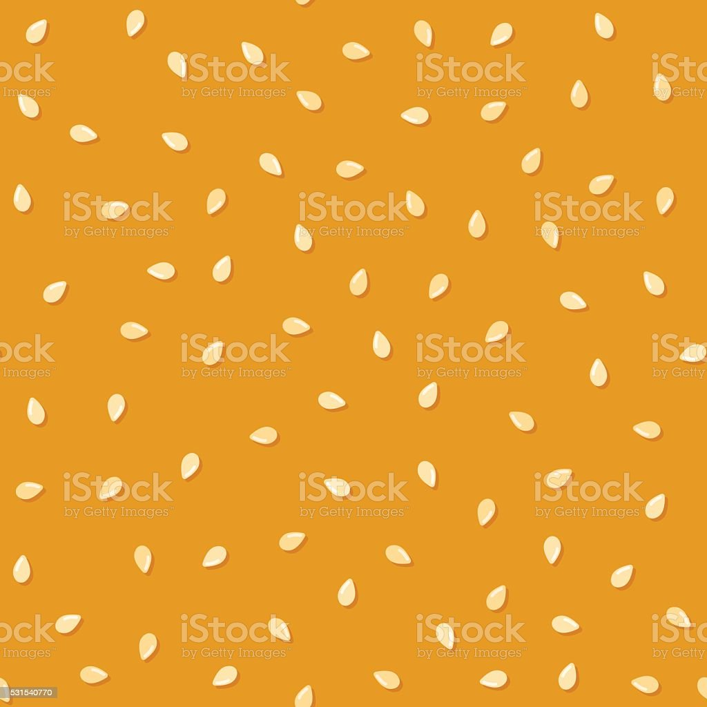 Seamless sesame seeds pattern vector art illustration
