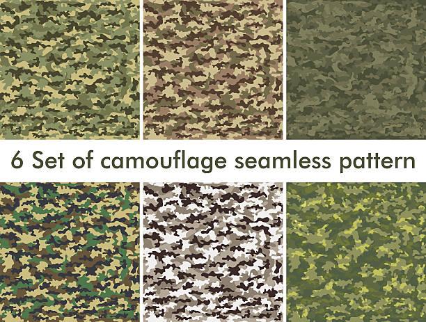seamless set of camouflage military pattern. cloth for infantry - 偽裝 幅插畫檔、美工圖案、卡通及圖標