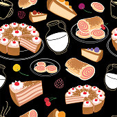Seamless set of desserts, pastries and cake symbolizing a cafe on a black background