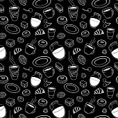istock Seamless set of sketches pies and desserts, symbolizing a coffee shop 1215675345