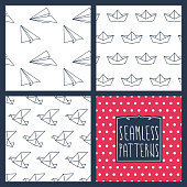 A set of 4 seamless patterns. Dots, paper planes, boats and birds. EPS10 vector illustration, global colors, easy to modify.