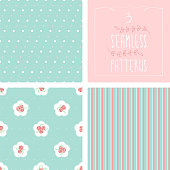 A set of 3 seamless patterns. Dots, roses and stripes. EPS10 vector illustration, global colors, easy to modify.