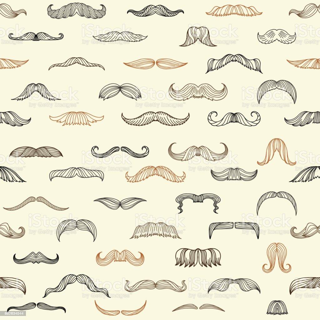 Seamless set with mustache of men vector art illustration