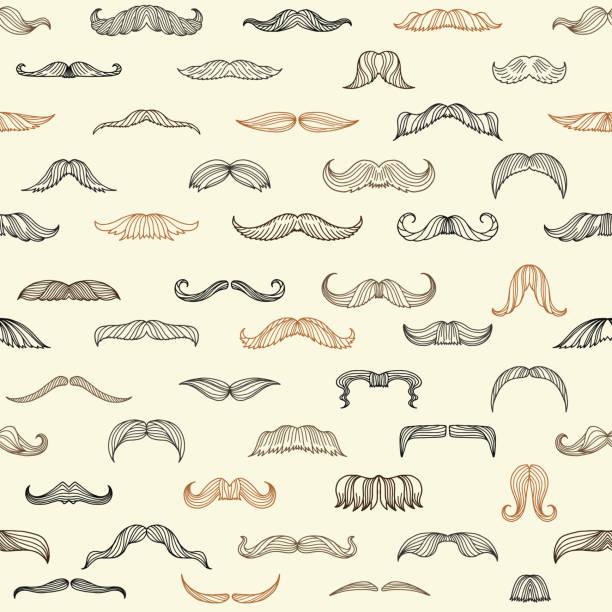 ilustrações, clipart, desenhos animados e ícones de sem emenda com bigode dos homens - bigode