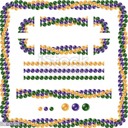 Vector illustration of seamless shiny Mardi Gras beads. There were NO gradients, meshes or blends used to create this file so bead strands can easily make excellent brushes with vector editing software. Frame, borders, corners and seamless bead strands are all included for easy construction of different size frames. Includes ai8.eps & .jpeg file formats.