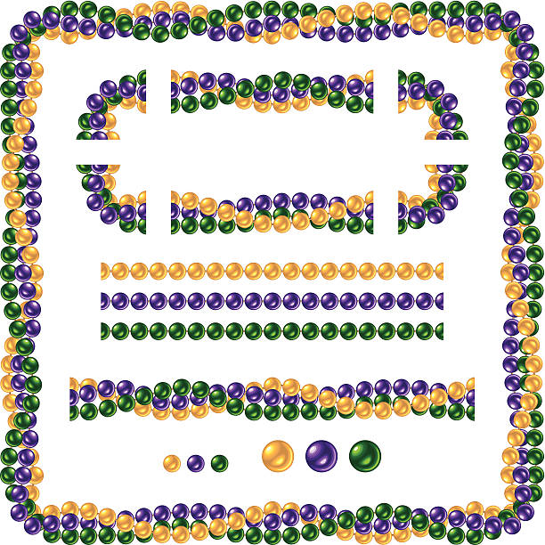 seamless shiny mardi gras necklace beads - mardi gras stock illustrations, clip art, cartoons, & icons