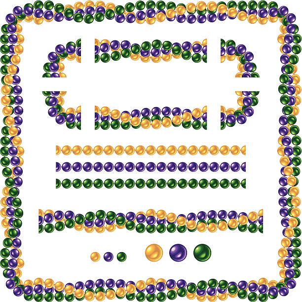 ilustrações, clipart, desenhos animados e ícones de brilhante sem costura colar de contas para o mardi gras - mardi gras