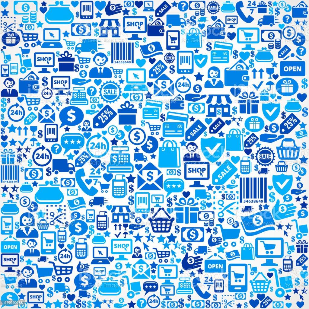 Nahtlose Einkaufs- und Handelszentrum blaue Icon-Muster Lizenzfreies nahtlose einkaufs und handelszentrum blaue iconmuster stock vektor art und mehr bilder von abzeichen