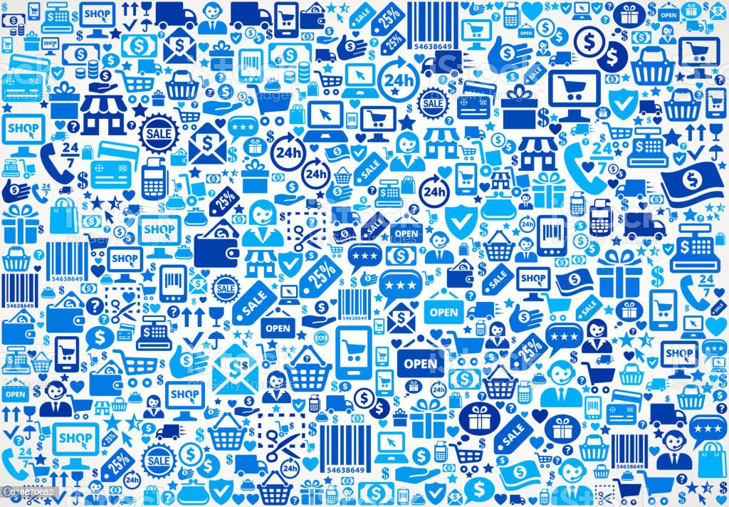 Seamless Shopping and Commerce Blue Icon Pattern royalty-free seamless shopping and commerce blue icon pattern stock vector art & more images of badge