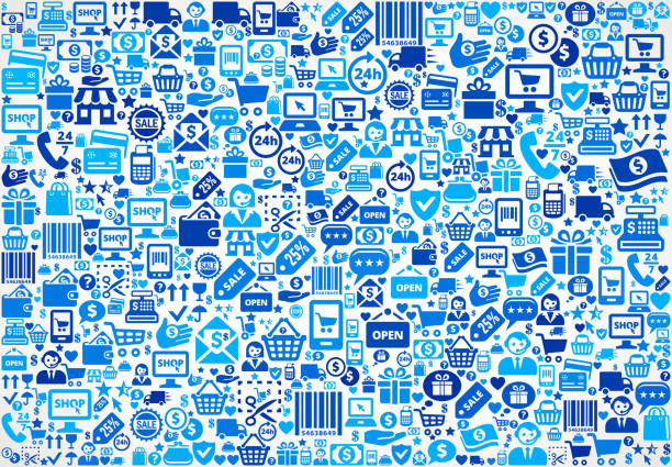 Seamless Shopping and Commerce Blue Icon Pattern vector art illustration