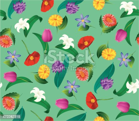 istock Seamless Simple Flower 472282315