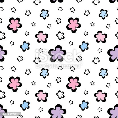Seamless simple pattern black and colored flowers, abstract texture, baby floral print. Seamless abstract pattern.