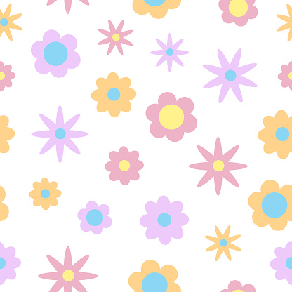 Seamless simple pattern with cute flat colored flowers, spring texture, baby floral print. Summer seamless pattern