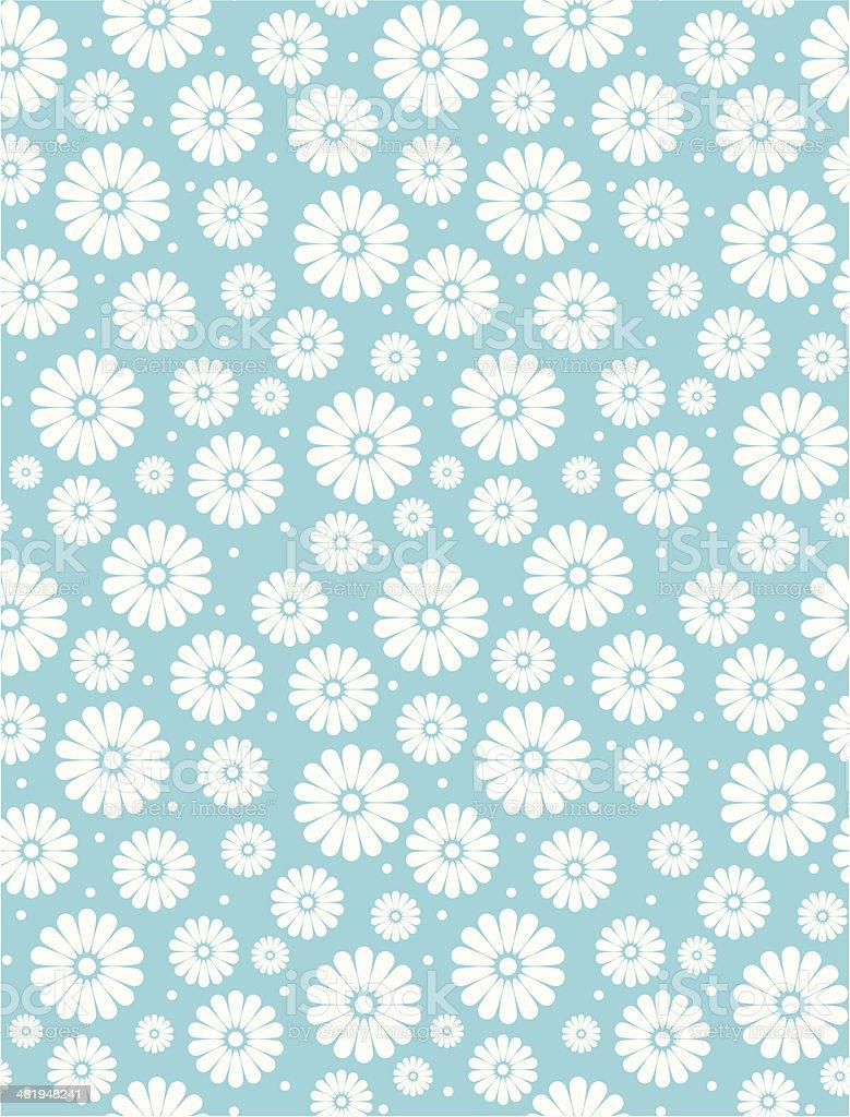 Seamless Simple Turquoise Daisy Polka Repeat Pattern vector art illustration