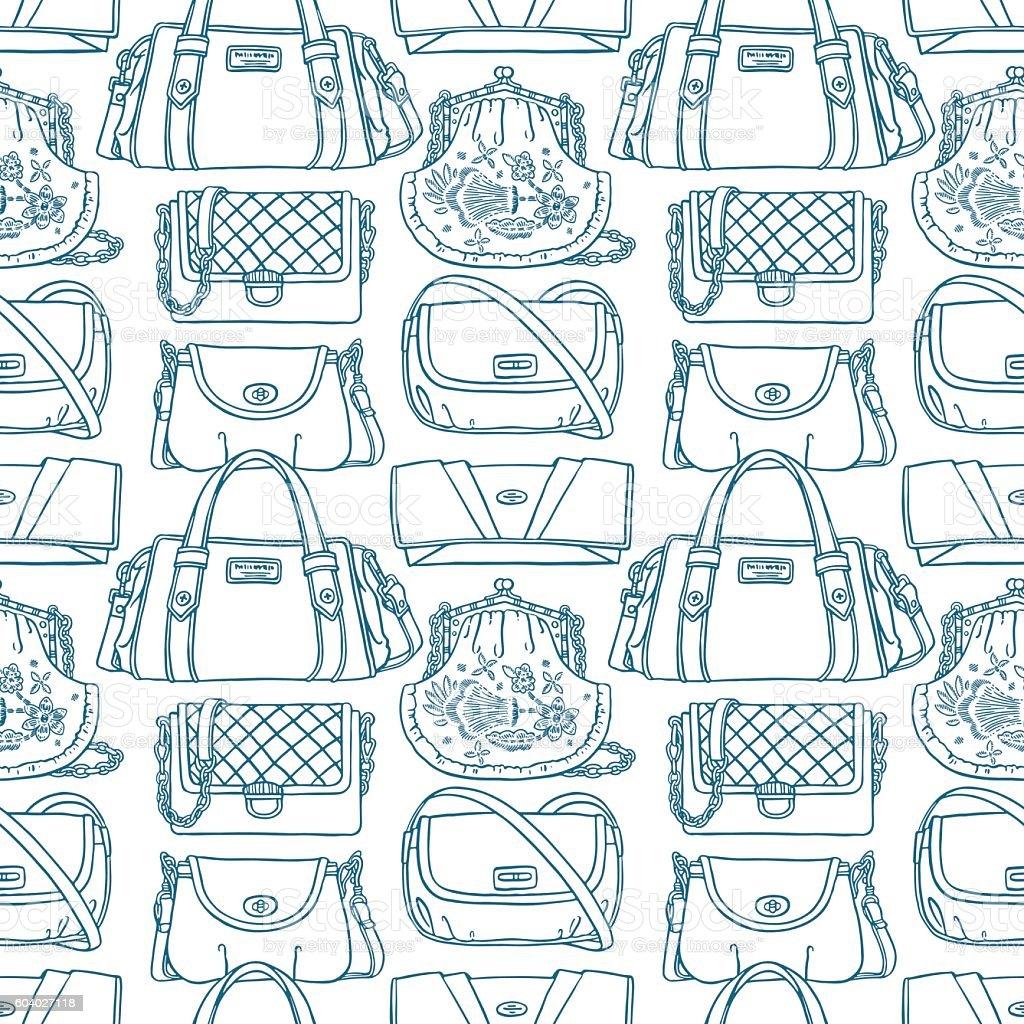 seamless sketch blue handbags vector art illustration