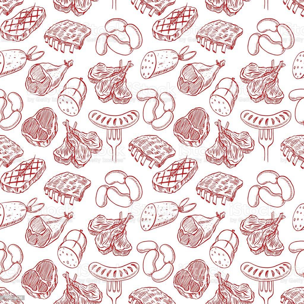 Desenho de produtos de carne sem costura - ilustração de arte em vetor