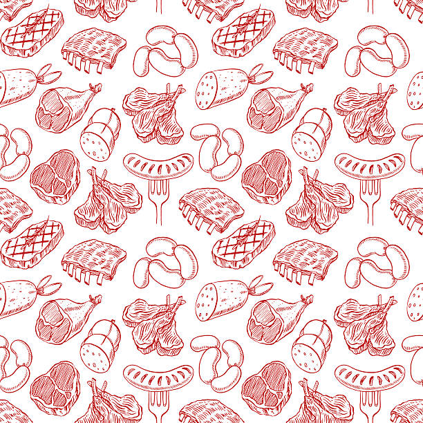 seamless sketch meat products vector art illustration