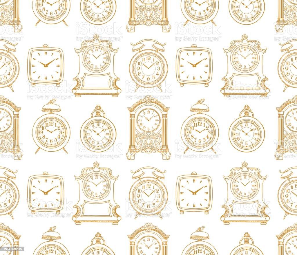 seamless sketch vintage clock vector art illustration