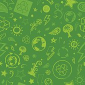 Seamless sketched green eco background