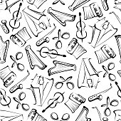 Seamless sketched musical instruments pattern