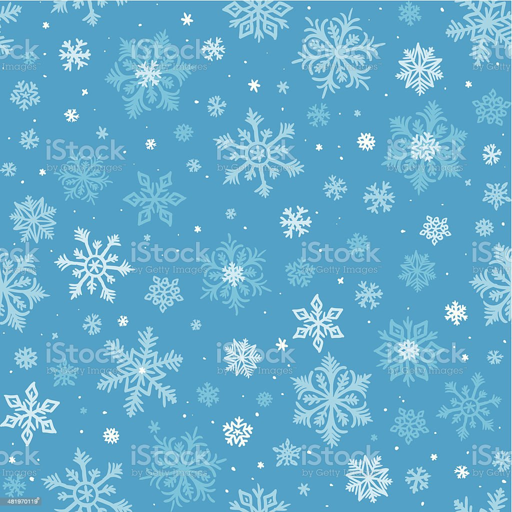 Seamless Sketched Snowflakes background royalty-free stock vector art