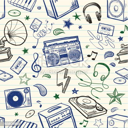 istock Seamless sketchy music background 165809955