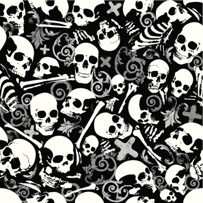 Seamless skull and bones wallpaper background