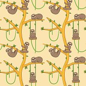 Seamless pattern with cute sloth animals hanging and resting on tropical trees. Endless nature cartoon background for gift wraps, fabric and design.