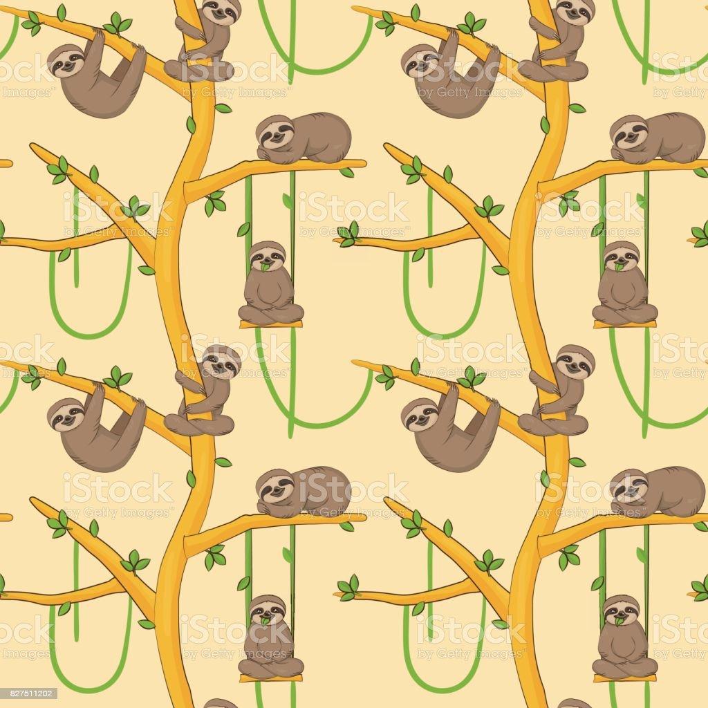Seamless sloth on tree patern vector art illustration