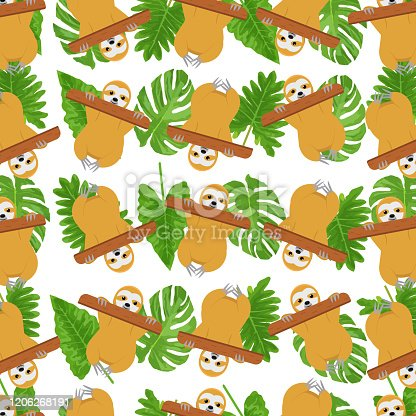 Tropical pattern with sloth and tropical leaves for textile, print, surface, fabric, graphic design