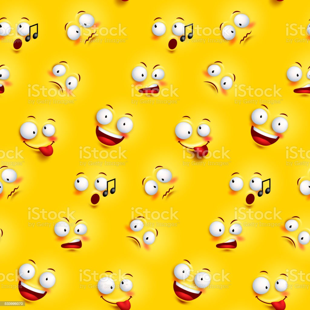 Seamless smiley face pattern with funny facial expressions