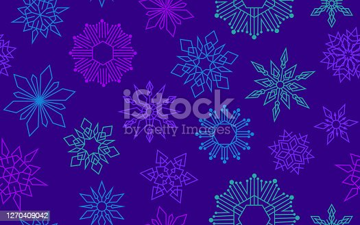 Seamless colorful vibrant snowflake modern design pattern tileable repeating background.