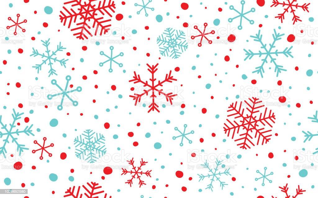 Nahtlose Schneeflocken Hintergrund - Lizenzfrei Abstrakt Vektorgrafik